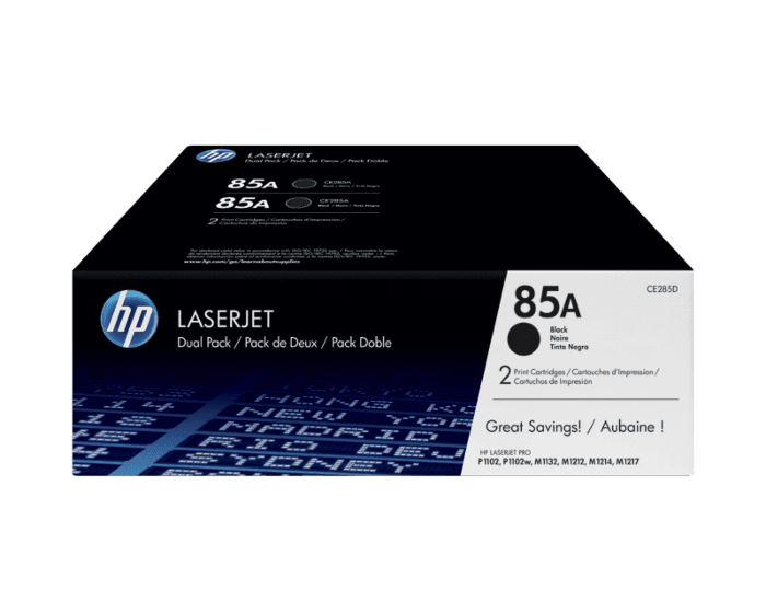 HP 85A 2팩 검정 정품 LaserJet 토너 카트리지