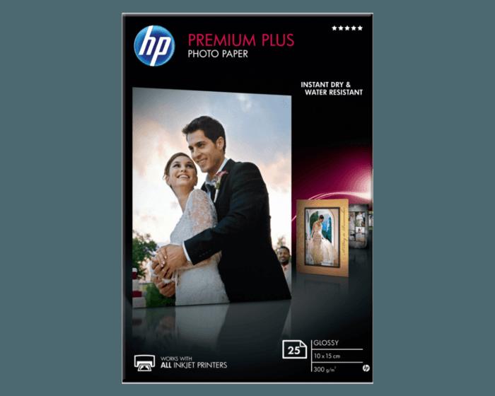 HP 프리미엄 플러스 광택 포토 용지-25매/10 x 15 cm