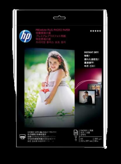 HP 프리미엄 플러스 광택 포토 용지-20매/A4/210 x 297mm