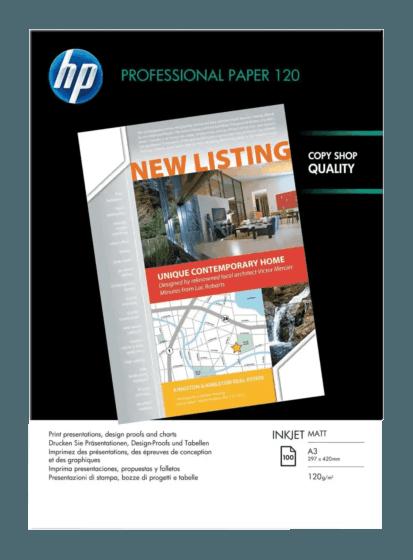 HP 프로페셔널 무광택 잉크젯 용지 - 100매/A3/297x420mm