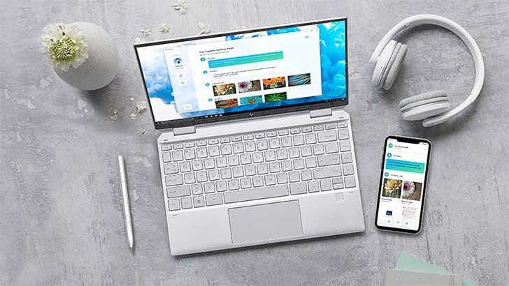 HP QuickDrop을 통해 HP 노트북으로 파일을 전송하는 전화