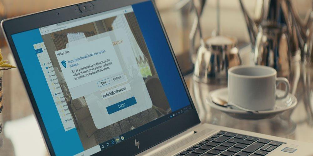 HP Sure Click을 사용하여 신뢰할 수없는 Wi-Fi 연결에 로그인 할 때 차단되는 팝업 알림